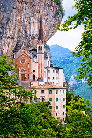 Madonna della Corona church on the rock, sanctuary in Trentino Alto Adige region of Italy