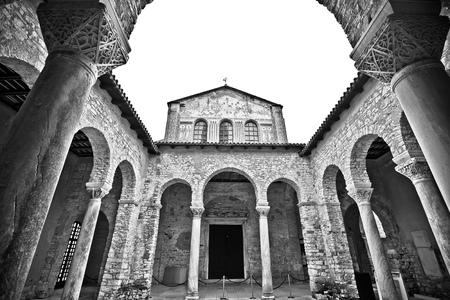 Euphrasian Basilica in Porec arcades black and white view