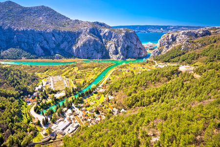 Cetina river canyon and mouth in Omis view from above, Dalmatia region of Croatia 写真素材