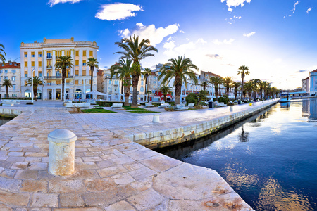 Split waterfront panoramic view from pier, Dalmatia, Croatia Stock Photo