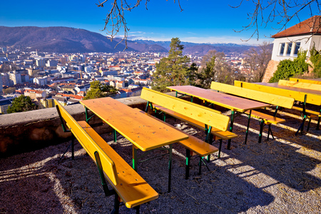 City of Graz viewpoint and restplace on the Schlossberg hill, Steiermark region of Austria