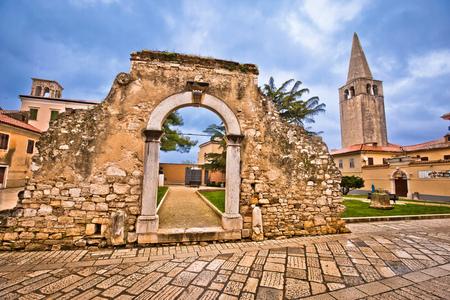 Old stone landmarks of Porec, town in Istria region of Croatia