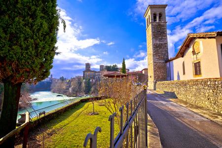 Italian heritage in Cividale del Friuli Natisone river canyon and ancient skyline view, Friuli-Venezia Giulia region of Italy Фото со стока