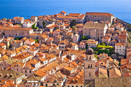 Dubrovnik old center rooftops view from city walls, Dalmatia region of Croatia