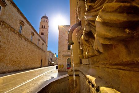 Onofrio Fountain and Stradun street in Dubrovnik colorful view, Dalmatia region of Croatia