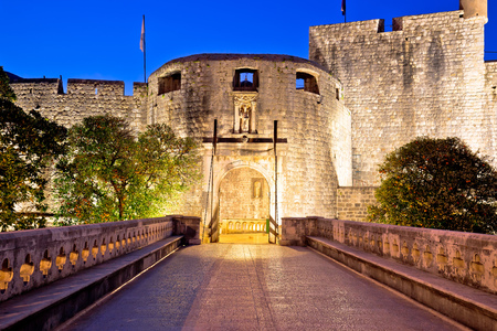 Pile gate entrance in town of Dubrovnik evening view, Dalmatia region of Croatia