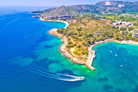 Aerial view of Dubrovnik emerald coastline in Srebreno, Dalmatia region of Croatia