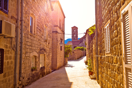 Historic town of Ston street and church view, Peljesac peninsula, Dalmatia region of Croatia Reklamní fotografie