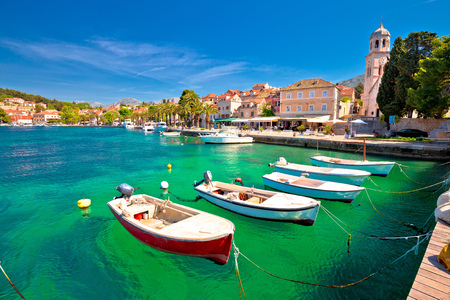 Turquoise waterfront of Cavtat view, Town in south Dalmatia, Croatia