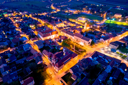 Town of Krizevci aerial panoramic night view, Prigorje region of Croatia