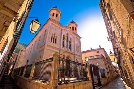 Stone narrow street of Dubrovnik church view in Dalmatia, Croatia