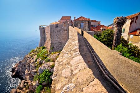 Dubrovnik defense walls and rooftops view, Dalmatia region of Croatia