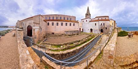Euphrasian Basilica in Porec artefacts and Euphrasian basilica view in Istria, Croatia Editorial
