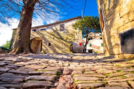 Cobbled village of Groznjan on istrian hill street view, Istria region of Croatia