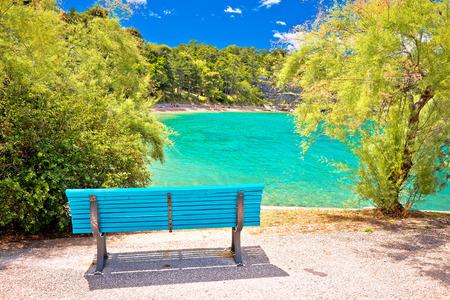 Turquoise beach in Omisalj view, Krk island of Croatia