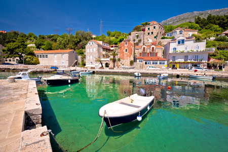 Idyllic village of Mlini in Dubrovnik archipelago view, south Dalmatia region of Croatia Stock Photo