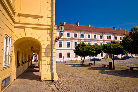 Old paved square in Tvrdja historic town of Osijek, Slavonija region of Croatia