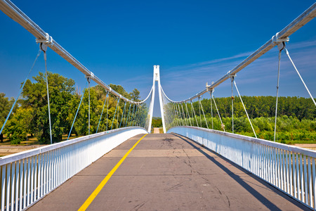 Drava river pedestrian bridge in Osijek, connecting Slavonija and Baranja regions of Croatia