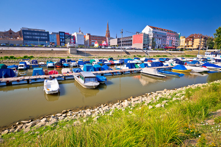 Drava river waterfront in town of Osijek view, Slavonija region of Croatia