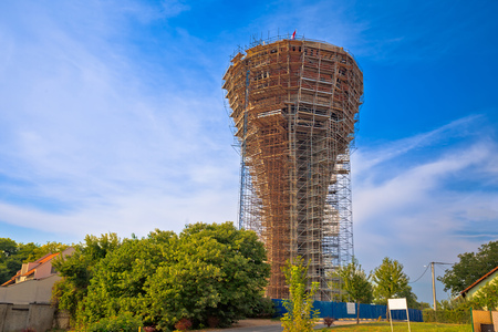 Vukovar water tower under reconstruction, symbol of war was hit with over 600 missiles but didn't fall, Slavonija region of Croatia