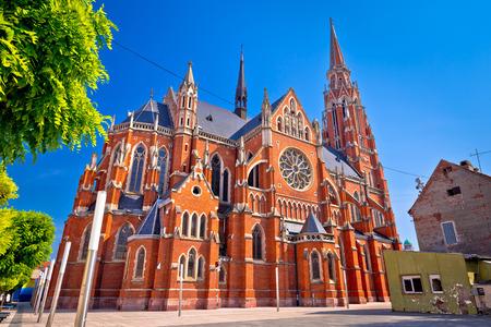Osijek cathedral of St Peter and St Paul colorful view, Slavonija region of Croatia