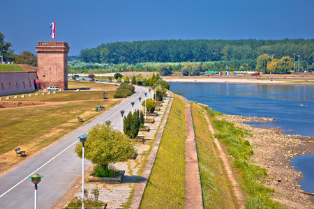 Drava river walkway in Osijek and Tvrdja walls view, Slavonija region of Croatia
