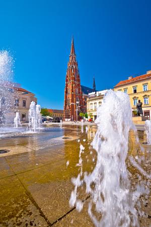 Osijek main square and cathedral view, Slavonija region of Croatia