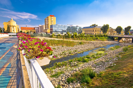Vukovar city view from Vuka river bridge, Slavonija region of Croatia