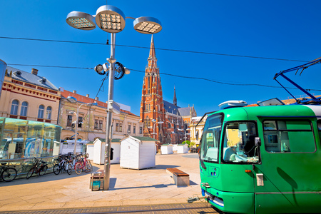 Osijek main square cathedral and tram view, Slavonija region of Croatia