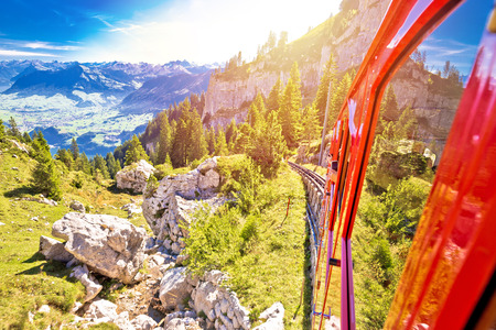Mount Pilatus descent on worlds steepest cogwheel railway, tourist landscape of Switzerland Zdjęcie Seryjne