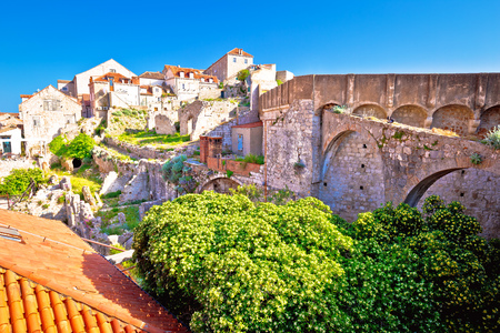 Histroic Dubrovnik old town view from city walls, tourist destination in Croatia Standard-Bild