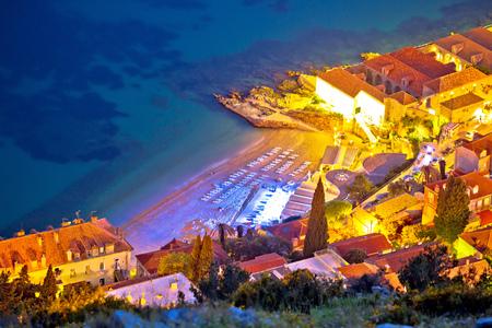 Banje beach in Dubrovnik aerial evening view, Dalmatia region of Croatia 版權商用圖片