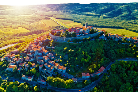Hill town of Motovun at sunset aerial view, Istria region of Croatia