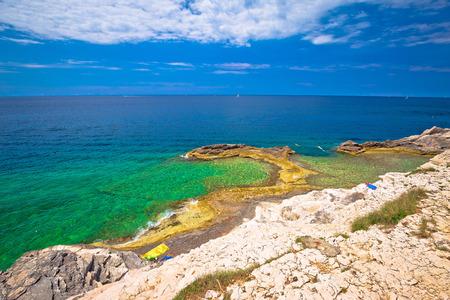 Zlatne Stijene famous stone beach in Pula view, Istria region of Croatia Banco de Imagens