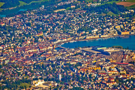Town of Lucerne aerial view, Switzerland from above