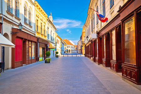Vukovar town square and architecture street view, Slavonija region of Croatia