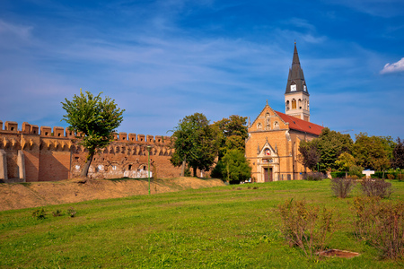 Town of Ilok defense walls and church view, Slavonija region of Croatia
