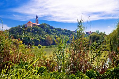 Town of Ilok church on the hill above lake, Slavonija region of Croatia
