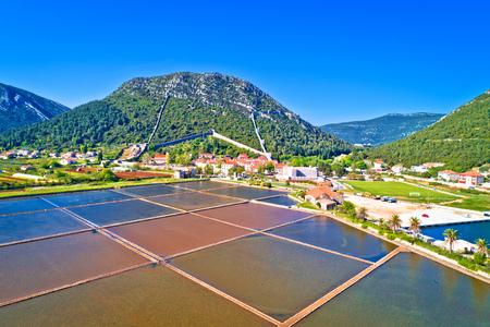 Town of Ston bay and salt fields aerial view, Peljesac peninsula, Dalmatia region of Croatia Reklamní fotografie