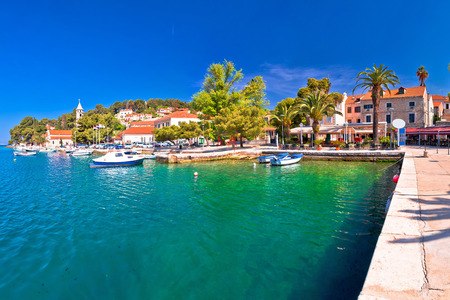 Adriatic town of Cavtat waterfront panoramic view, southern Dalmatia region of Croatia