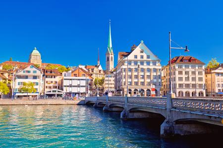 Zurich waterfront landmarks autumn colorful view, largest city in Switzerland
