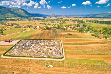Colorful Gacka valley aerial summer view, Lika region of Croatia