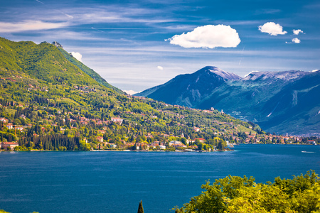 Lago di Garda and high cliffs view, Lombardy region of Italy