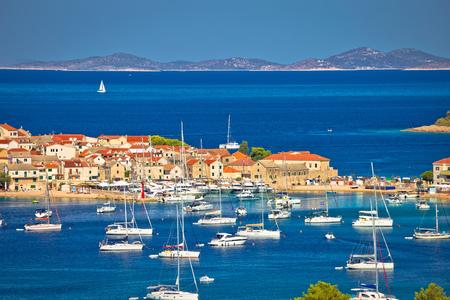 Adriatic tourist destination of Primosten aerial archipelago view, Dalmatia, Croatia