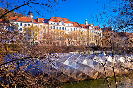 City of Graz Mur river island and Schlossberg hill view, Styria region of Austria