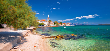 Kastel Stafilic landmarks and turquoise beach panoramic view, Split region of Dalmatia, Croatia