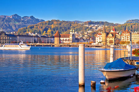 City of Lucerne lake waterfront and harbor panoramic view, central Switzerland Standard-Bild