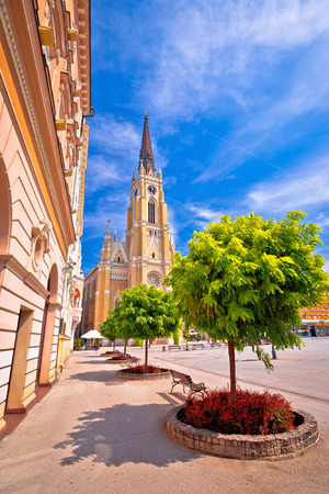 Novi Sad square and cathedral colorful view, Vojvodina region of Serbia