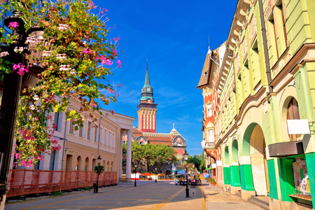 Subotica city hall and main square colorful street view, Vojvodina region of Serbia