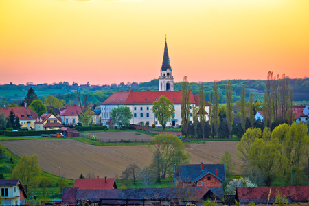 Greekcatholic cathedral in Krizevci sunset view, Prigorje region of Croatia 版權商用圖片